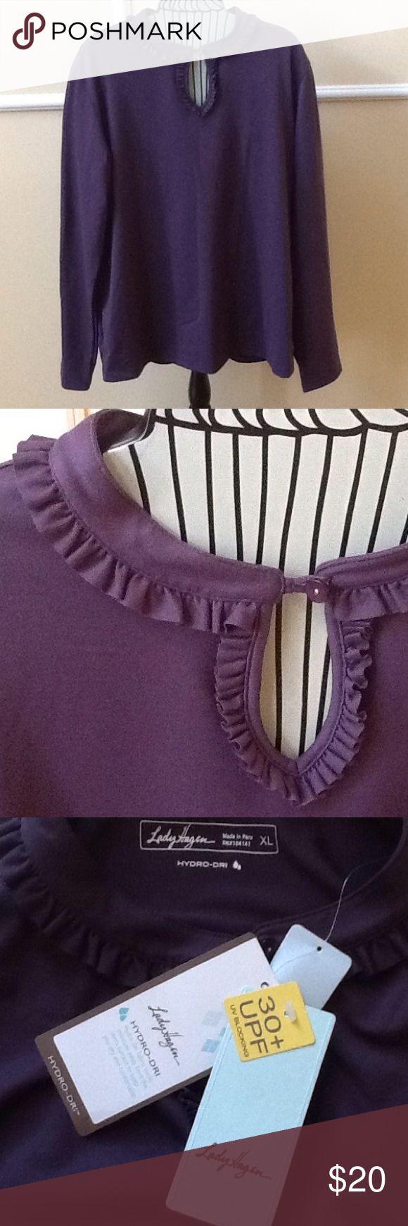 NEW - Lady Hagen top. Size XL.. Hypro dry fabric Purple velvet. 30+ UPF UV blocking. Hydro dry fabric Lady Hagen Tops