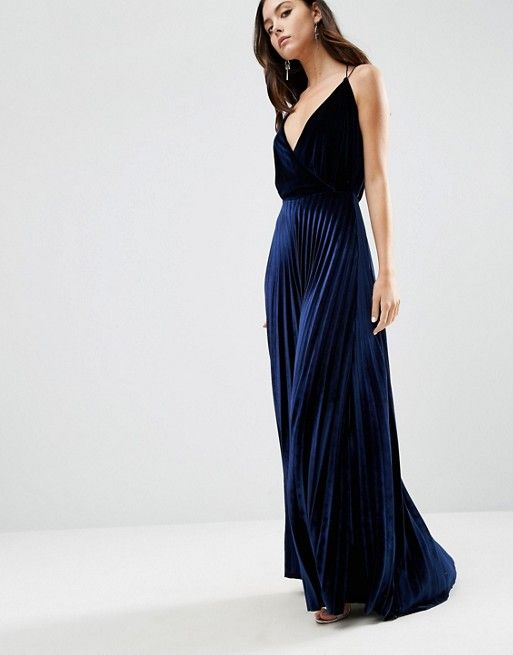 ASOS | ASOS Blouson Strappy Pleated Velvet Maxi Dress