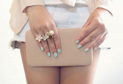 Cute color combo...Mint Green, Style, Nails Colors, Mint Nails, Pastel Nails, Rings, Nails Polish, Green Nails, Blue Nails