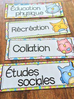Nouveau décor pour la classe : les hiboux ! Étiquettes pour le menu du jour, l'horaire de la classe, l'emoloi du temps.