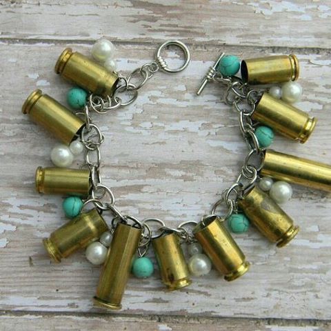 Bullet casing, pearl, and turquoise charm bracelet. $30 shipping included.