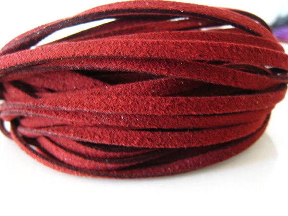 1 Yard of 3mm Deep Red Flat Suede Lace. $1.23, via Etsy.