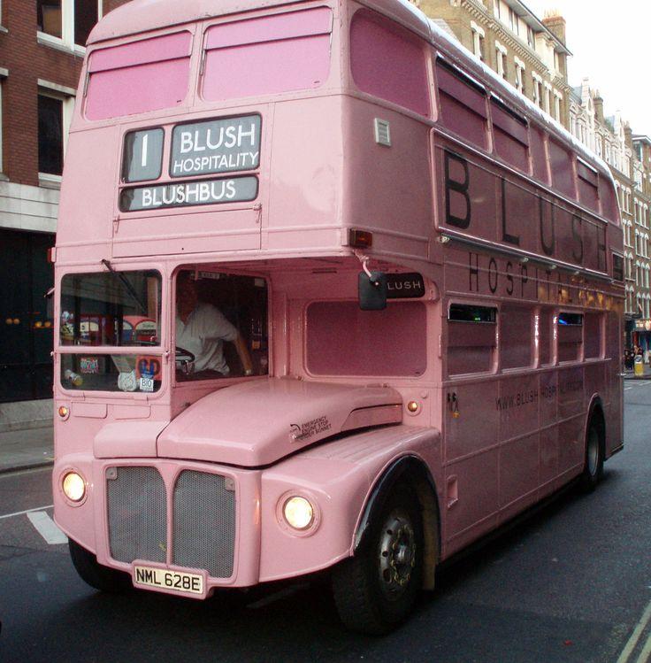 pink double decker bus