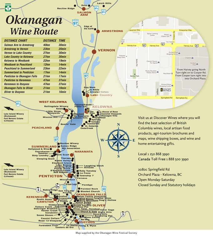 Okanagan Wine Map  My Vacation Planner ;-)