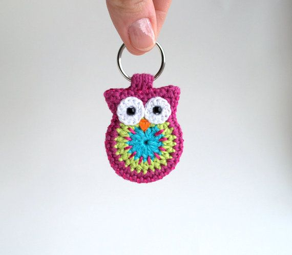 Crochet owl keychain, owl keyring, pink crochet owl key chain on Etsy, $20.20 AUD @J j sundheim I bet the knitters group could sell these during their breast cancer fundraising