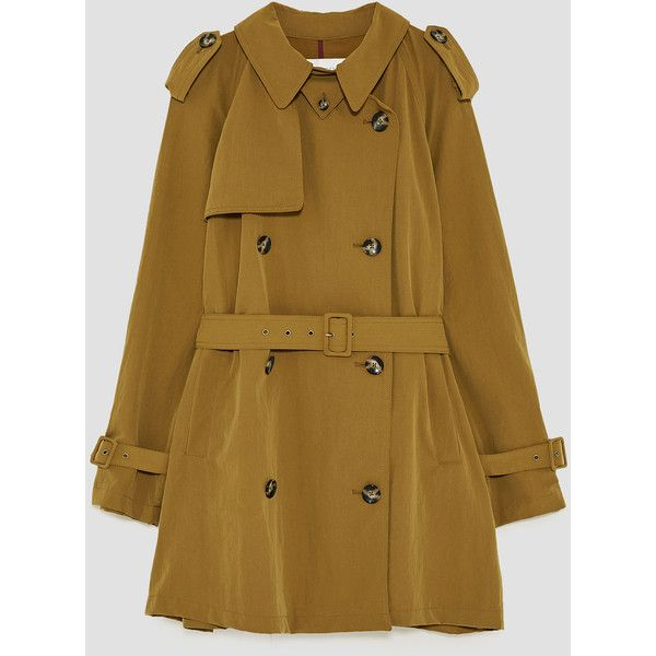 LIGHTWEIGHT TRENCH COAT - View all-OUTERWEAR-WOMAN | ZARA United... (€97) via Polyvore featuring outerwear, coats, brown coat, brown trench coat, lightweight coat, light weight coat and light weight trench coat