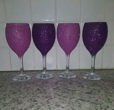 4 Glitter wine glasses set Pink & purple Wedding gift dinner Party New home gift