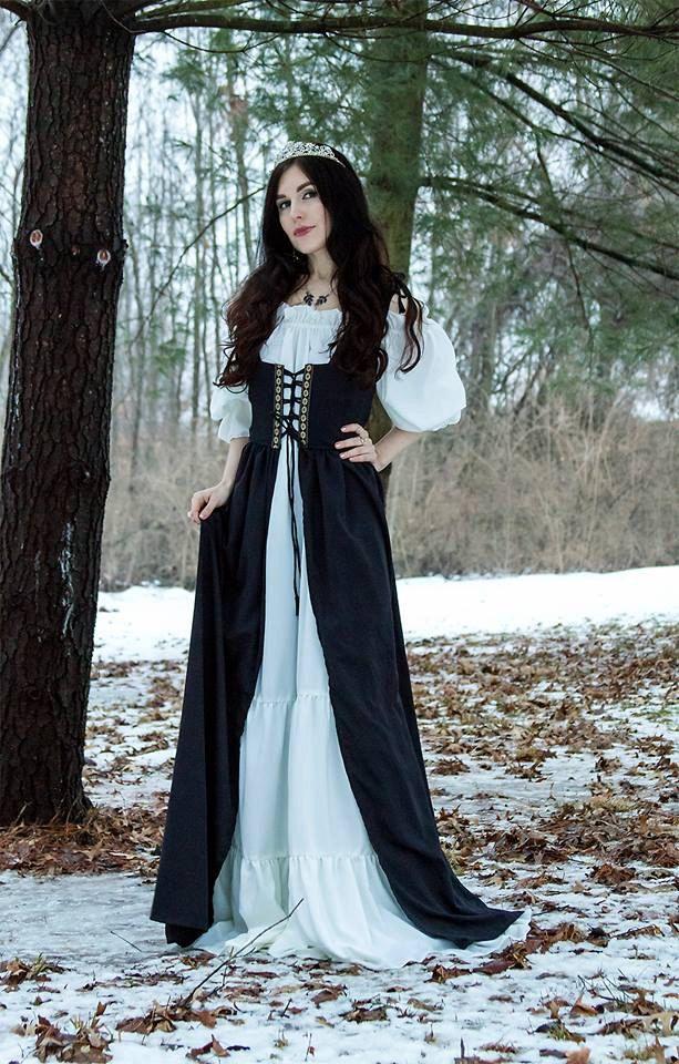 Renaissance Medieval Irish Costume Indigo Over Dress Fitted Bodice  S/M by ReminisceShoppe on Etsy https://www.etsy.com/listing/266451744/renaissance-medieval-irish-costume