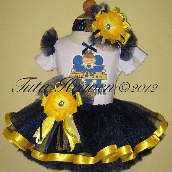 Michigan Wolverines Cheerleader Football Tutu Set by TuTuHeaven11, $64.99