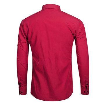 Men Casual Fashion Long-sleeved Lapel Shirt 6 Colors at Banggood