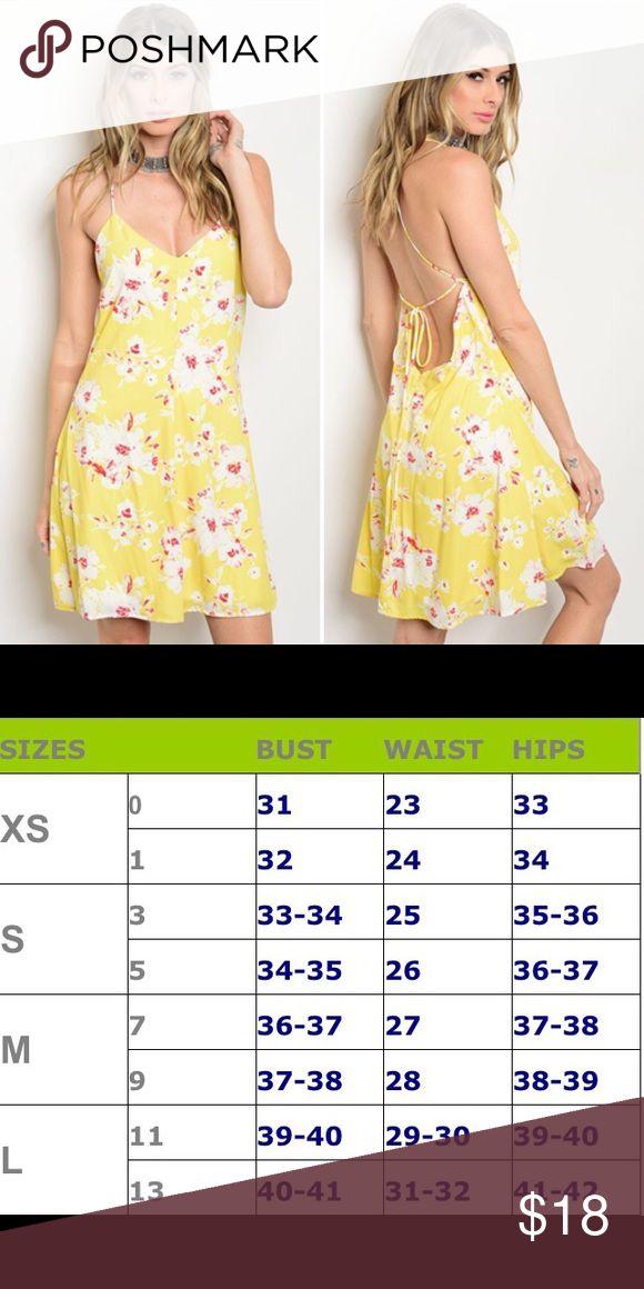 🌟SALE🌟 Yellow & White Floral Dress V-Neck Spaghetti Strap Mini Floral Summer Dress - great for festival season! ESTAM Dresses Mini