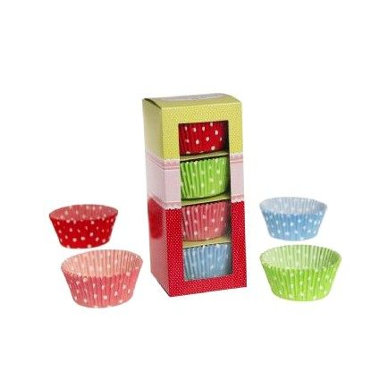 100 Vintage Style Cupcake Cases – Red & White Polkadots, Green & White Polkadots, Pink and White Polkadots and Blue and White Polkadots - All the blues party packs $105 http://www.strawberry-fizz.com.au
