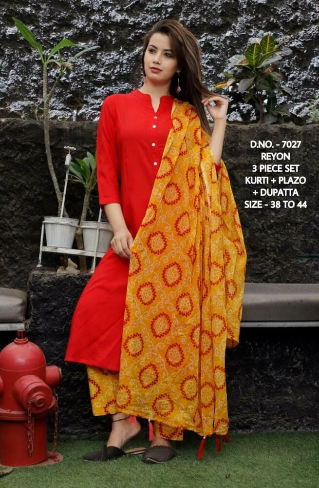 Gift For Her Plazzo With Kurti Reyon Suits Kurti With Plazzo Reyon Kurti With Plazzo Set Womens  Dress Reyon Dress Plazzo With Kurti