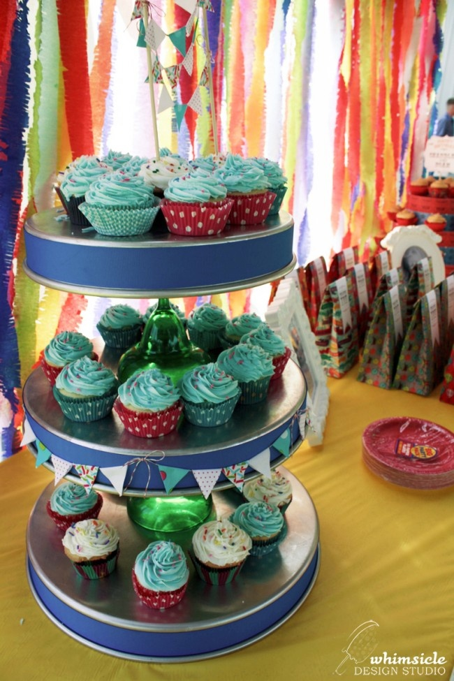 Cupcake Stand Vintage Carnival Birthday Party By