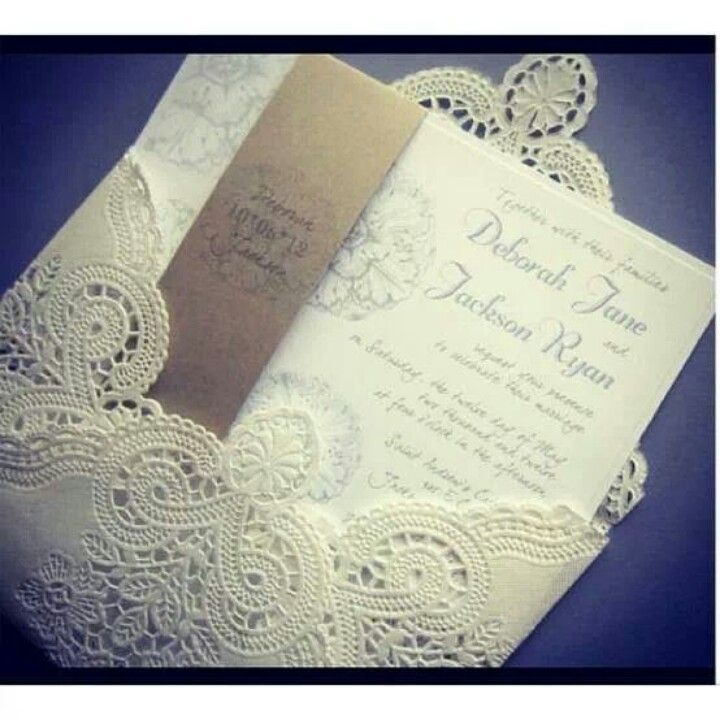 I love these invitations. Lace is what i lovea