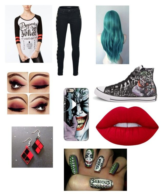 """""""Joker outfit"""" by jaraujo3 on Polyvore featuring Bioworld, Converse, Lime Crime and Casetify"""