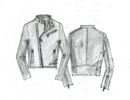 The Sketch For Our Painted Leather Jacket Fashion