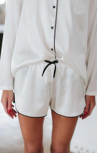 Białe jedwabne szorty pidżamowe - Wszystkie - MLE Collection