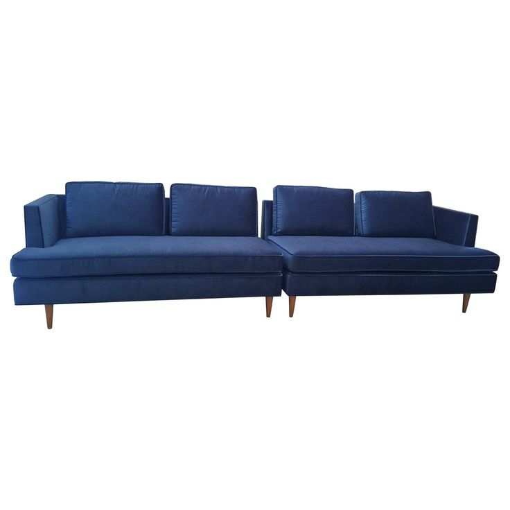 Edward Wormley Sectional Sofa for Dunbar in Blue Velvet   From a unique collection of antique and modern sectional sofas at https://www.1stdibs.com/furniture/seating/sectional-sofas/