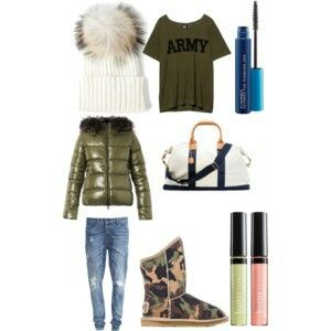 Colder days khaki white jeans bag UGG boots