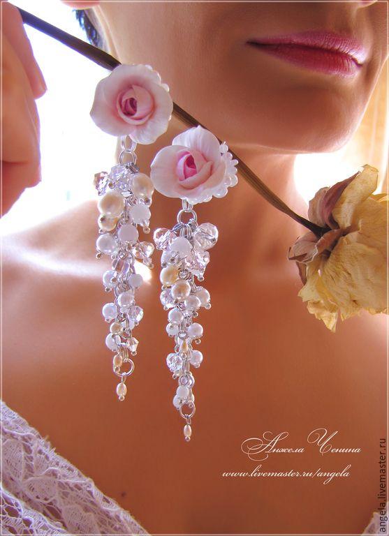 """Купить Серьги-гроздья """"Розовые розы"""" - бледно-розовые серьги, серьги-гроздья розы"""