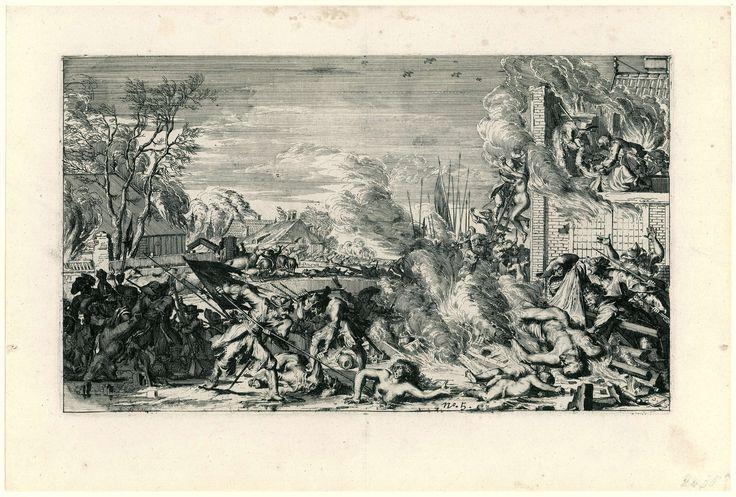 Anonymous | Wreedheden in een dorp in de winter, 1672, Anonymous, Romeyn de Hooghe, 1673 - 1675 | Voorstelling van de wreedheden bedreven door de Franse troepen in Hollandse dorpen in het jaar 1672, gekopieerd naar de prenten van Romeyn de Hooghe uit 1673 (FMH 2439). De voorstelling toont het vermoorden van de bewoners van een dorp. Op de voorgrond dwingt een Franse soldaat een naakte vrouw door het ijs. Rechts een brandende woning met de naakte lichamen van de vermoorde bewoners op een…