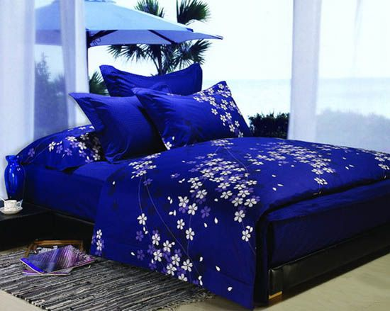 Dark blue and purple bedding sets royal bedroom for Blue white and silver bedroom ideas