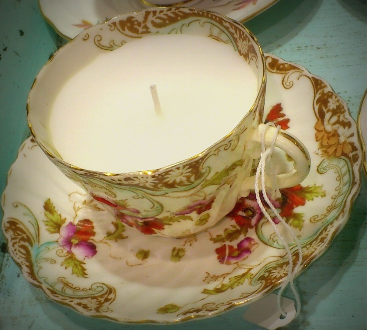A gorgeous Vintage Teacup I have transformed into a teacup candle!
