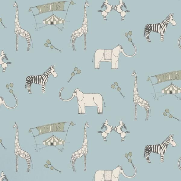 Katie Bourne Childrens Wallpaper. Roll up, roll up, the circus is coming to town. This beautiful circus themed paper will amuse and delight your little ones for years to come. Featuring delightful zebras, giraffes and elephants, this fun design will feed their imaginations.. These beautifully illustrated wallpapers are made and printed in England using traditional techniques on high quality sustainable forest paper.    Width:52cm Length:10m
