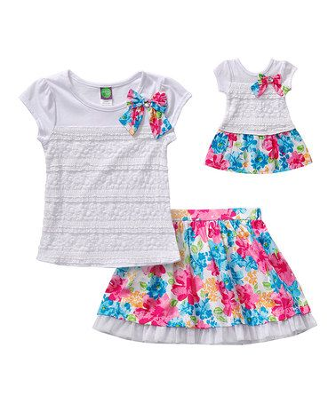 Loving this White & Pink Flower Top & Skirt & Doll Outfit - Toddler & Girls on #zulily! #zulilyfinds