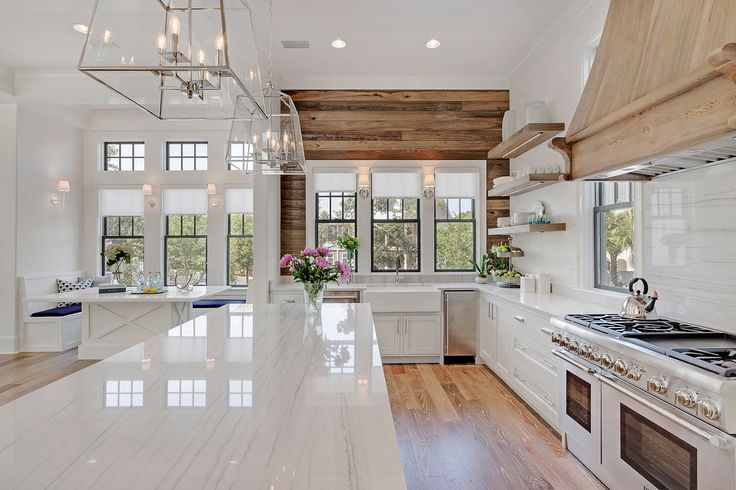 Coastal Kitchen - Old Seagrove Homes - cypress plank wall