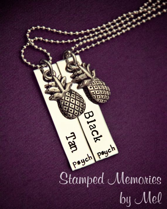 """We need these!!! Wish they weren't so expensive! Psych Fan """"Black and Tan"""" Necklace Set - Hand Stamped Stainless Steel with Pineapple Charms - Shawn and Gus Quotes - Best Friends"""