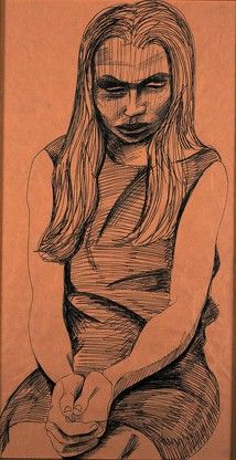 Alasdair Gray: Inge with Clasped Hands 1963 framed ballpoint on brown paper 69 x 46 cm