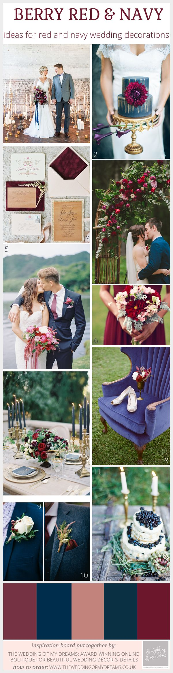 There are so many rich, warm and vibrant color palettes that go hand in hand with an autumn wedding. My particular favorite color combinations include red and navy, with subtle accents of gold for a touch of opulence