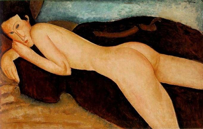 Ню. Обнаженная женщина лежащая на животе. Картины итальянского художника Амедео Модильяни