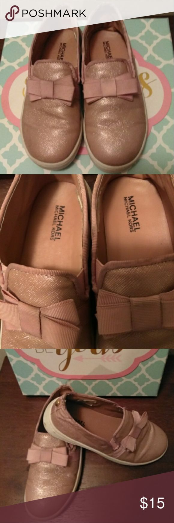 Comfortable girls loafers [Michael Kors] Color [blush pink] with a bow on the top! Very comfortable and cute! Michael Kors Shoes Sneakers