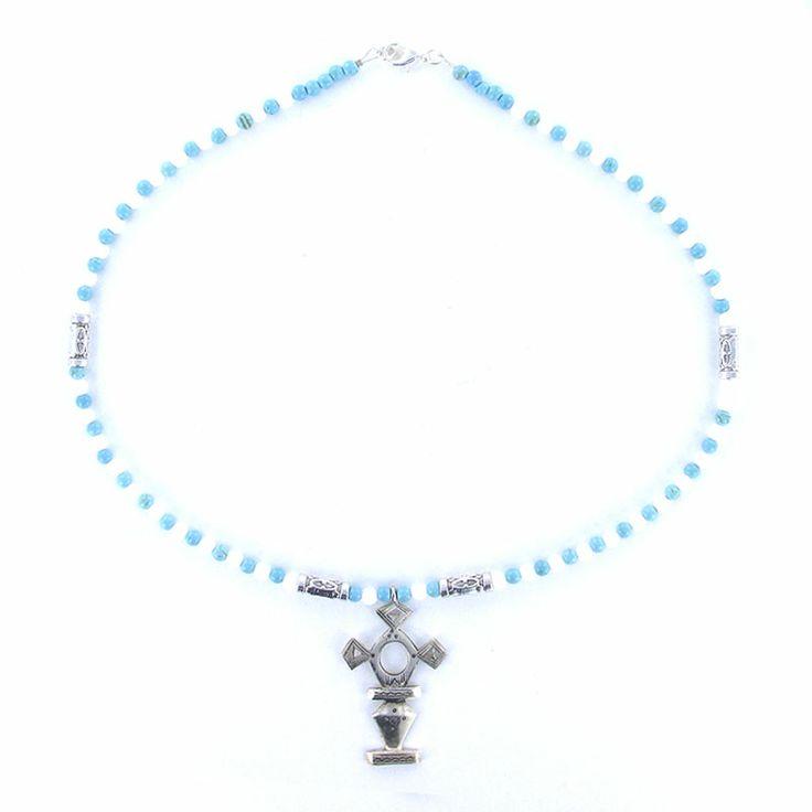 Collier croix du sud en argent turquoise et agate blanche