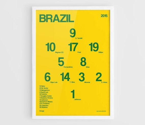 Brazil Copa America 2015 Football team squad by NazarDes on Etsy Home decor  Copa America  FIFA World Cup  Brasil 2014 Neymar poster  Thiago Silva  David Luiz  Philippe Coutinho  Roberto Firmino  Fernandinho  Pele poster
