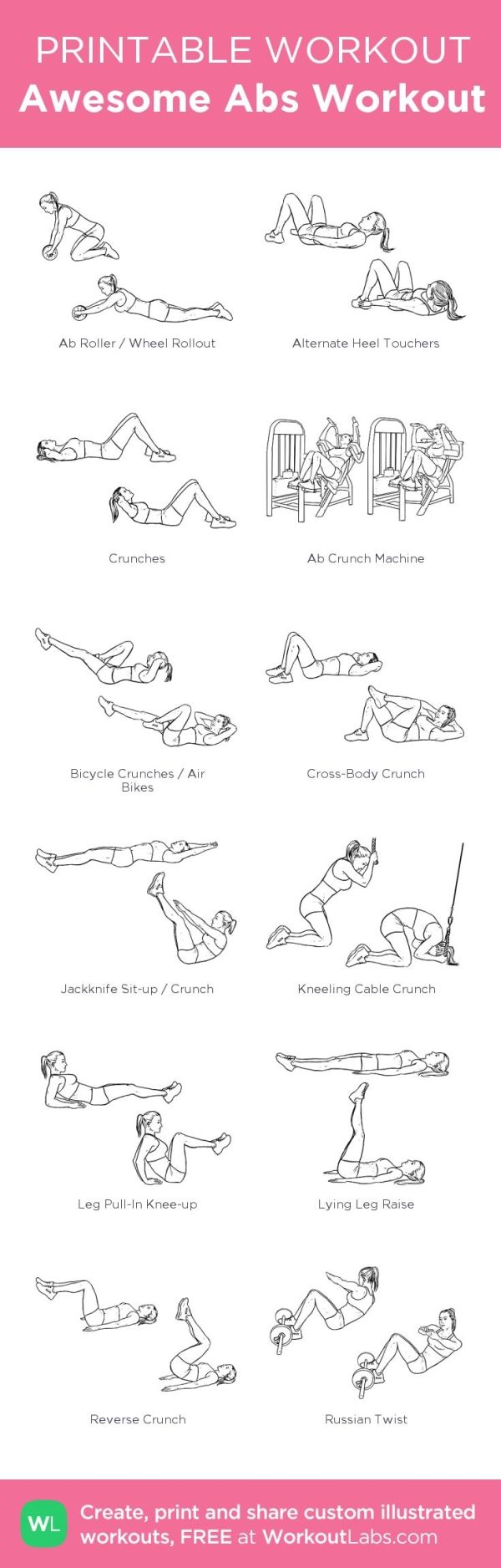 Awesome Abs Workout: my custom printable workout by @WorkoutLabs #workoutlabs #customworkout by dorthy