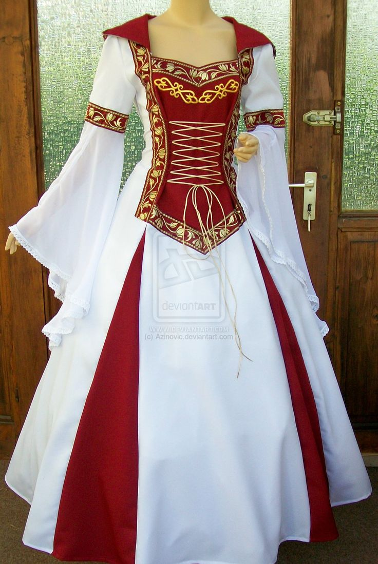 medieval dress - pretty with the white and red. Would like to see a blue or green dress too.