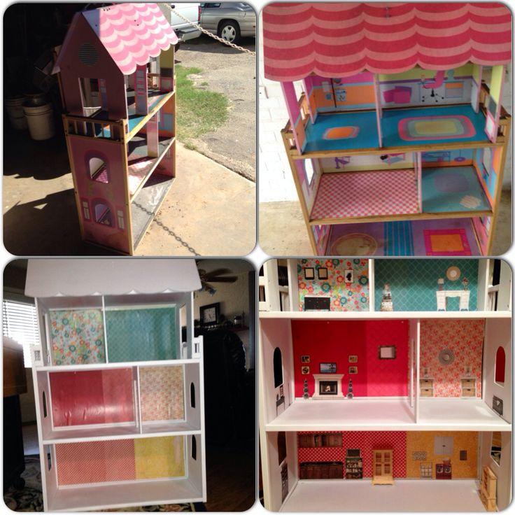Diy Garage Sale Kidkraft Wooden Dollhouse Makeover