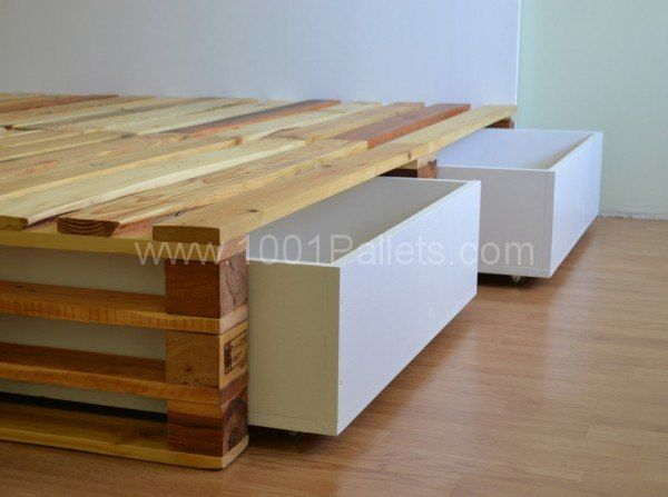 1000 ideas about pallet bed frames on pinterest pallet for Pallet bed with storage plans