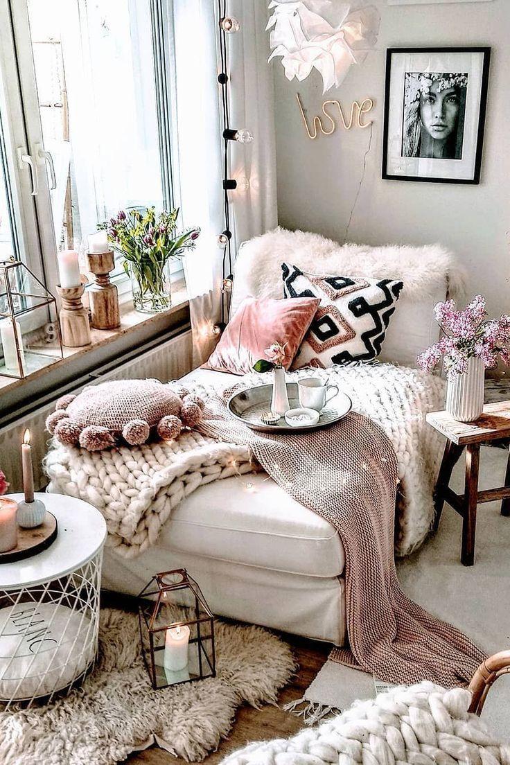 Boho Chic Furniture House Living Room White Pink In 2020 Boho Bedroom Decor Lounge Decor Bohemian Bedroom Decor #white #boho #living #room