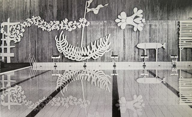 "Stig Lindberg's ""The Beach"" stoneware decoration for the swimming hall, school of the Swedish Confederation of Trade Unions, Gustavsberg, 1976"