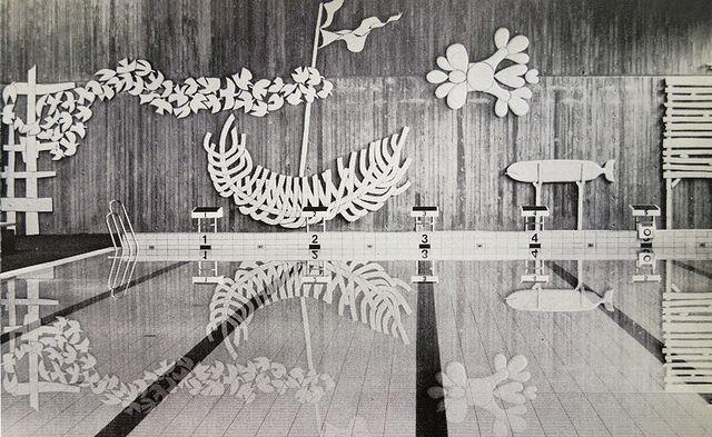 "Stig Lindberg's ""The Beach"" stoneware decoration for the swimming hall, school of the Swedish Confederation of Trade Unions, Gustavsberg, 1976"