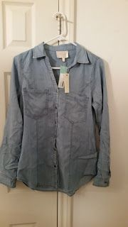 Stitch Fix September 2015 Review - Skies are Blue Bowes Button Down Top