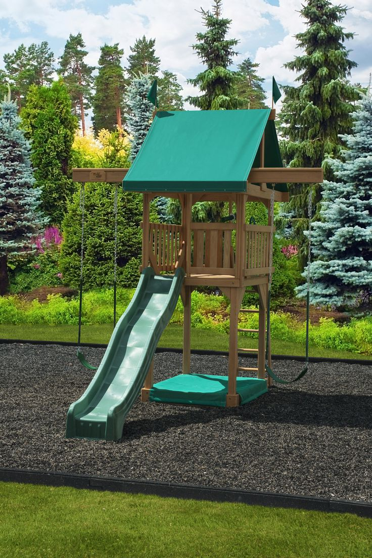 The #102 Happy Space Wooden Swing Set. This cute little wood play set boasts our smallest footprint at just 10' x 15'. But this swing set proves that big fun can come in small packages! Get a free catalog by calling 800-438-7529.
