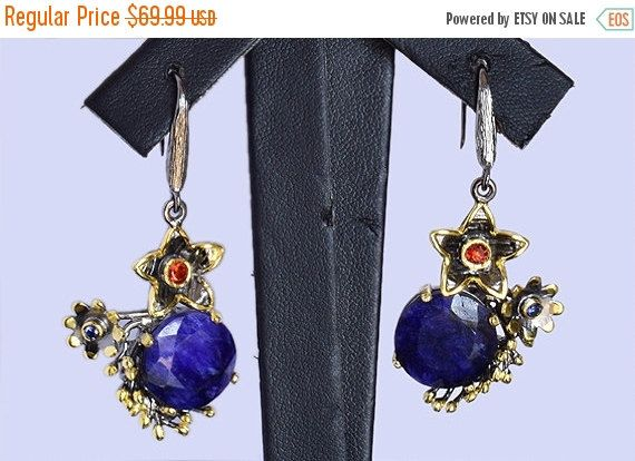 Genuine Blue Sapphire Earring, Handmade Designer Earring, 925 Solid Sterling Silver Earring Jewelry, Blue Sapphire, INC-162