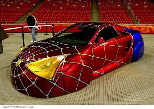 weird car paint jobs strange spiderman custom car spidey car incredible paint job - Car Paint Design Ideas