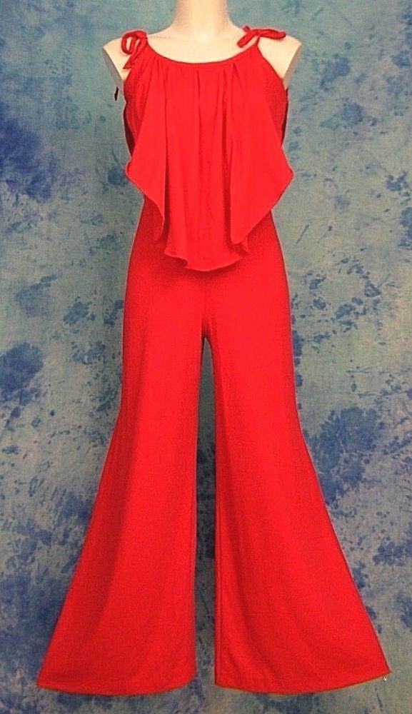 1809d83f023c ViNTAGE 70s RED ReTrO DiScO ViXEN PiNUP DRAPED BELL BOTTOM PALAZZO JUMPSUiT  S M